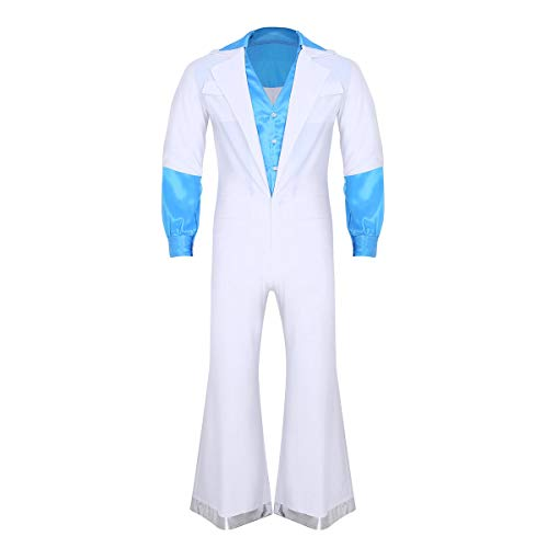 TiaoBug Men's 70S Retro Disco Costume Fancy Dress Long Sleeves Bell Bottom Jumpsuit White X-Large ()
