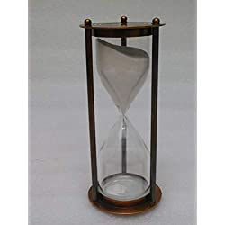 Critsmas Gift item 60 min brass sand timer brown antique finish, fully hand made vintage antique brass replica sand timer sand clock hour glass maritime nautical vint