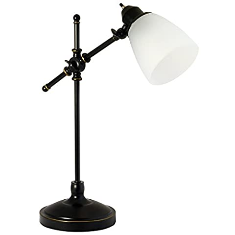 Light Accents Antique Style Desk Lamp with Black with Gold Trim and Frosted White Glass Shade Desk Light table - Hubbardton Forge Bronze Floor Lamp