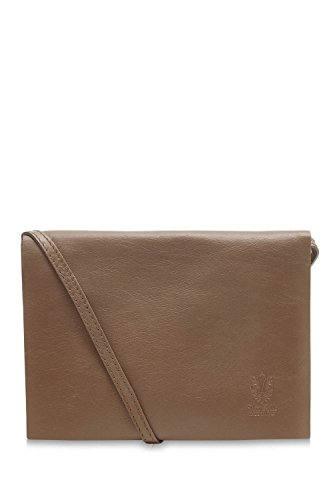 Montte Di Jinne - 100% Soft Italian Leather Ladies Envelope Flap Shoulder Bag Dark Taupe