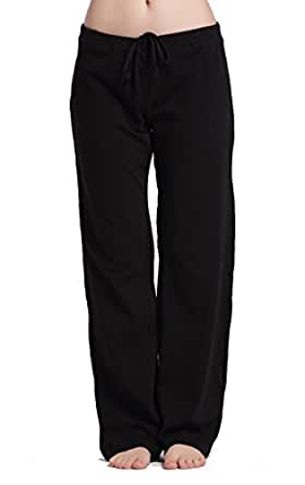 CYZ Women's Basic Stretch Cotton Knit Pajama Sleep Lounge Pants-Black-XS