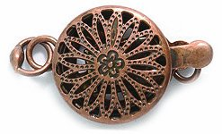 Shipwreck Beads Electroplated Brass Clasp Box Round Filigree, 11mm, Metallic, Antique Copper, 1-Set