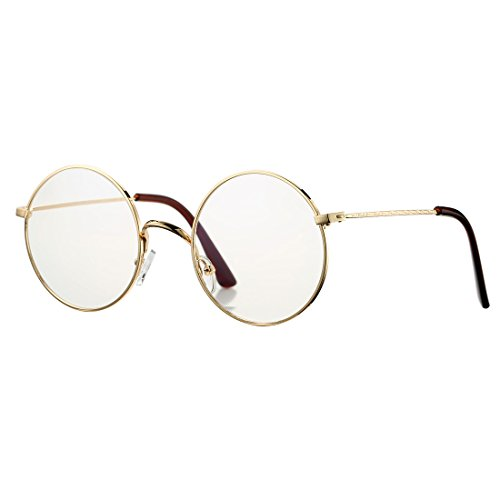 6b7bad77ef COASION Retro Large Round Circle Clear Lens Glasses Metal Frame Non-Prescription  Eyewear(A Gold
