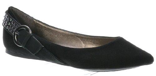 Breckelle Talia-07, Schattige Puntige Gesp + Deco Gewikkeld Achteraanrecht Plat Zwart