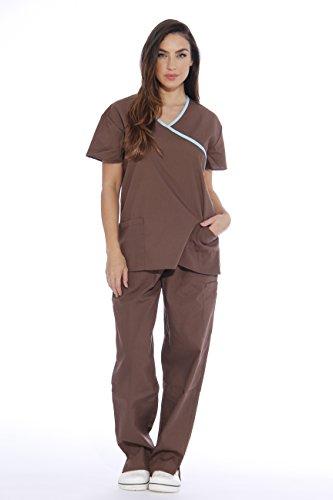 11153W Just Love Women's Scrub Sets / Medical Scrubs / Nursing Scrubs - XL, Chocolate with Aqua Trim