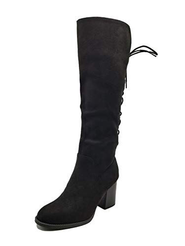 Women Knee High Chunky Heels Back Lace Up Boots Firefly-S