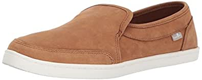 Sanuk Women's Pair O Dice Leather Loafer Flat, Tobacco Brown, 05 M US