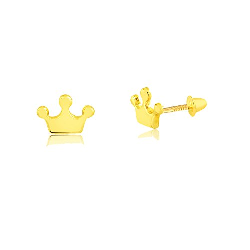 18k Hypoallergenic Gold Crown Screw Back Safety Stud Earrings for Babies, Girls, and Infants. (yellow-gold)