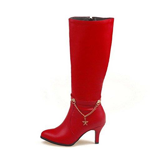 de Mujeres Tacón Media Caña AllhqFashion Cremalleras Colgantes con Botas Rojo aguja q17t7