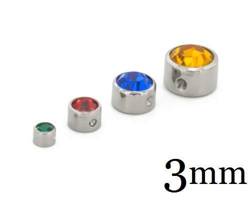 Painful Pleasures Titanium Jeweled Replacement Bead Ring 3mm - Light Blue ()