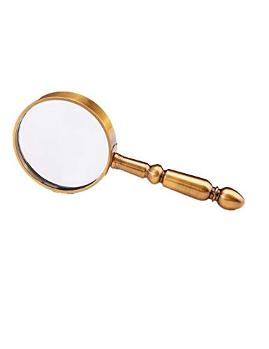 10X handheld magnifying glass, wide-angle, multi-function, children's classroom science and insect observation, the best size reading magnifier for parents gift series. ( Color : A Bronze color ) ()