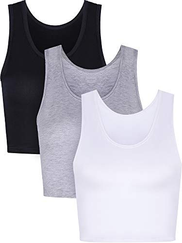 Boao 3 Pieces Women Crop Tank Top Cotton Basic Sleeveless Short Sports Crop Top for Ladies Wearing (Small)
