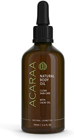 ACARAA Body Oil, Oil Moisturizer To Tighten Skin, Anti-Aging Bio Oil Against Stretch Marks & Itchy Skin, Skin Oil With Jojoba Oil, Argan Oil & Almond Oil, Natural Cosmetics From Germany, 3.4 oz