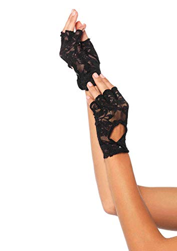 Leg Avenue Women's Lace Keyhole Fingerless Gloves, Black, One Size, 4-Pair