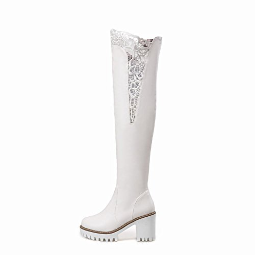 Mee Shoes Damen runde Plateau mit Lace langschaft Stiefel Weiß