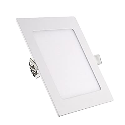 B-right 15W 7-inch Square LED Panel Light, 120W Equivalent, 1200lm Ultra-thin 4000K Daylight White LED Recessed Ceiling Lights for Home Office Commercial Lighting