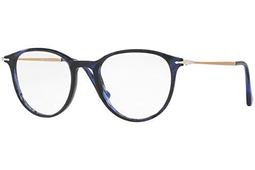 Persol Designer Sunglasses - Persol PO3147V Eyeglasses 48-19-140 Striped Blue w/Demo Clear Lens 1053 PO3147-V PO 3147-V PO 3147V