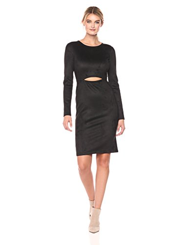 (BCBGMax Azria Women's Whitley Knit Faux Suede Dress with Cutout, Black, M)