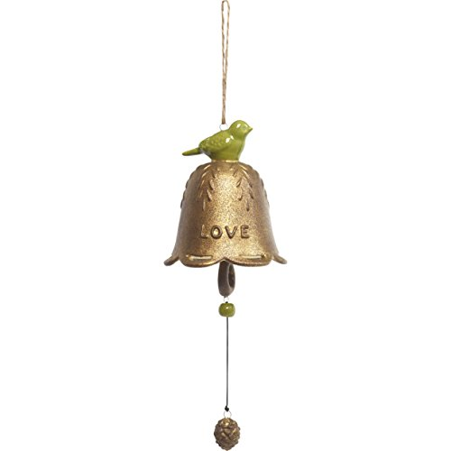 Garden Gifts by Precious Moments Love With Green Bird Ceramic Hanging Bell Windchime Indoor/Outdoor Garden Décor 185017 (Decor Bird Holiday)