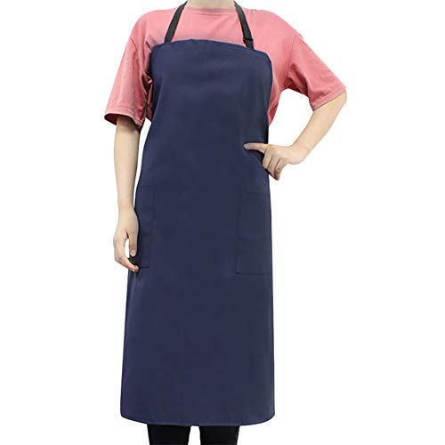 Anseal Waterproof Vinyl Apron, 35″ Rubber Industrial Chemical Resistant Work Cloth with 2 Pockets Safety Bib Apron for Dishwashing, Lab Work, Butcher, Cleaning Fish (1 Pcs, Blue)
