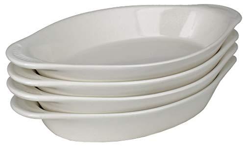 White Oval Pie Dish - MinWill Brands Ceramic Oval Rarebit/Au Gratin Baking Dish with Pan Scraper (4-Pack, 15 Ounce, Bone White)