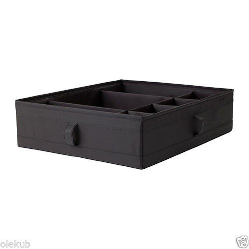 (Ship from USA) IKEA SKUBB Storage Box with Compartments Bedroom Organizer Black 17 x 13 x 4 by IKEA