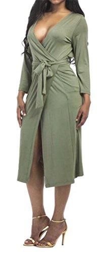 Cmc Womens Manches Longues Froncé Fente Avant Wrap V Cou Slim Fit Robe Verte De L'armée
