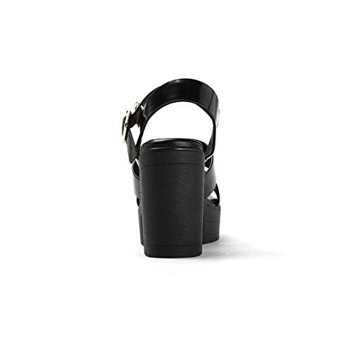 Zapatos de punta abierta de cuero verano/Zapatos de plataforma con suela gruesa/Sandalias de tacón grueso las mujeres Negro