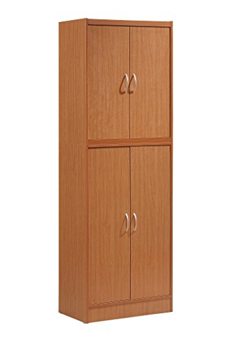 4 Cherry Shelf - Hodedah 4 Door Kitchen Pantry with Four Shelves, Cherry