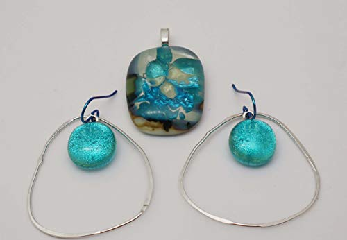 (3 pc Ivory Aqua fused dichroic glass pendant/earrings set Large Sterling silver Hoops)