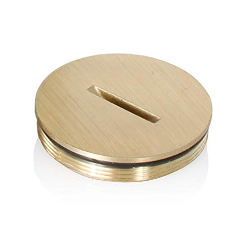 Leviton 25249-CAP Replacement Screw Cap with O-Ring for Duplex Floor Box, Brass with Clear Coating