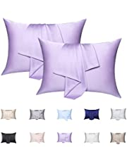 Silk Pillowcase 2 Pack, FANHSJF 100% Mulberry Silk Pillowcase for Hair and Skin, 19 Momme 600 Thread Count Silk Pillow Cover Set of 2 with Hidden Zipper.