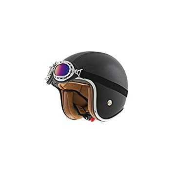 CASCO JET SHIRO SH-234 BAD BOY NEGRO XXL (FIBRA + CUERO)