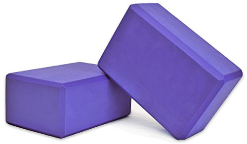 YogaAccessories High Density Foam Yoga Blocks (Set of 2) - Purple, 9