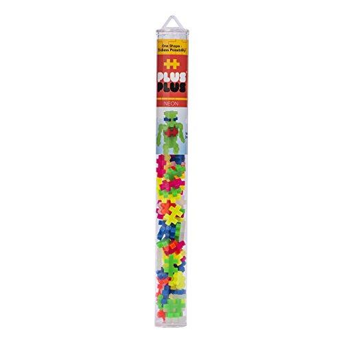 PLUS PLUS - Construction Building Toy, Open Play Tube - 70 Piece - Neon Color Mix