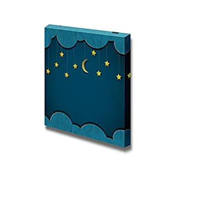 Canvas Prints Wall Art - Moon and Stars Vector Paper-Art - 24