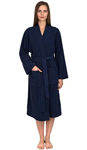 TowelSelections Women's Robe Turkish Cotton Terry Kimono Bathrobe X-Small/Small Patriot Blue