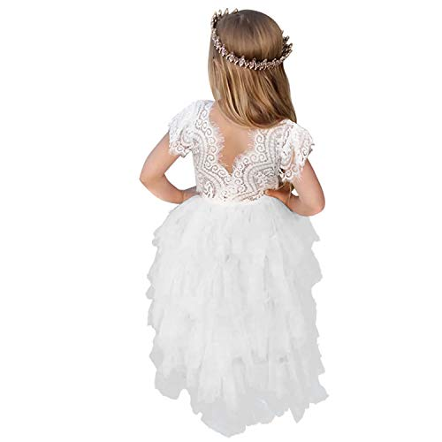 NNJXD Flower Girls Dress,Girls Lace Tutu Tulle Backless Birthday Party A-line Dresses 4-5 Years 07White