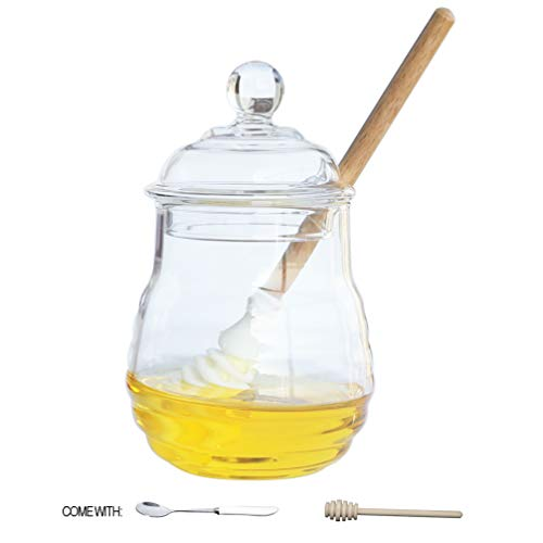 - Itikky Honey Jar Pot High Borosilicate Glass and dipper wooden silicone Beehive Style 9.5 fl oz