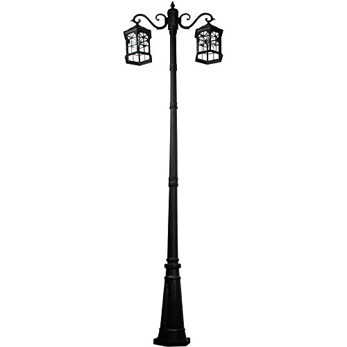 8 feet high outdoor solar lamp post with two heads and LED Lights SL-3801black2.45m by Kendal