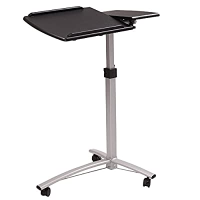 Leadzm Adjustable Height Angle Rolling Laptop desk, Mobile Computer Desk, Dual Surface, Over Sofa Bed Table, Standing for Reading & Writing, Home & Office Desk