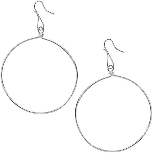 Humble Chic Circle Dangle Earrings - Hypoallergenic Geometric Thin Round Drop Hoops for Women, 925 White, Sterling Silver-Electroplated Circle Dangle Wire Earrings