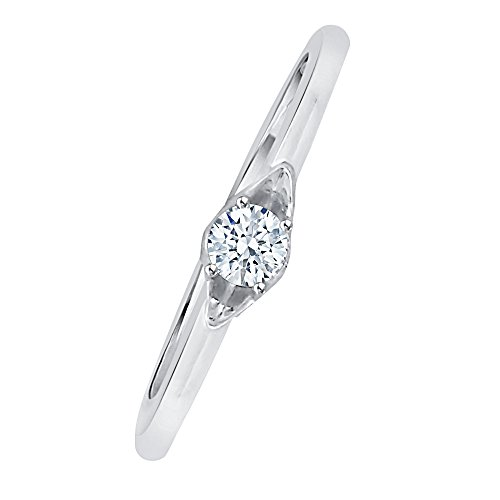 Diamond Solitaire Promise Ring in Sterling Silver (1/8 cttw) (GH-Color, I2/I3-Clarity) (Size-10) by KATARINA