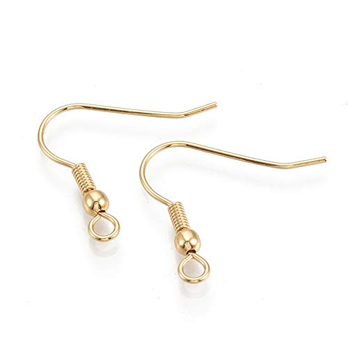 18k Gold Plated Stainless Steel Fish Hook Earring Findings Wires for Jewelry Making- Hypoallergenic (21 Gauge, 20mm)