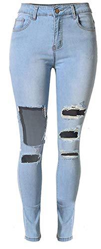 Pants Beggar Slim Vita A Blau Grazioso Donna Elastico 2 Bassa Pantaloni Cotton Denim Stretch Hole In Jeans 1vpYwqzF