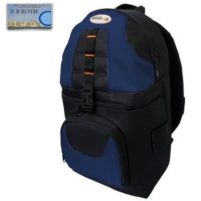 Panasonic Slr Lumix - Deluxe Digital SLR Camera/Camcorder Sling Backpack (Black/Blue) For The Panasonic Lumix DMC-GF1, GF2, FZ35 Digital Cameras