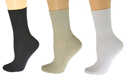 Sierra Socks Diabetic Arthritic Womens Ankle Cushioned Sole Smooth Toe 3 Pair Pack (9-11, (Cushioned Sole Socks)