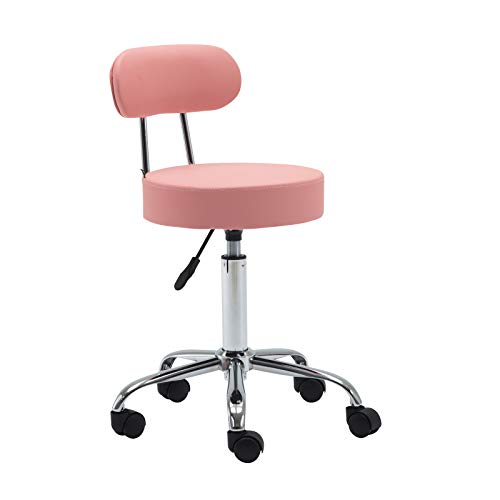Artechwoks Round Rolling Massage Stool PU Leather Height Adjustable Swivel for SPA Medical Salon Stools Chair with Backrest and Wheels, Pink