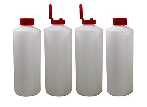 Plastic Squeeze Condiment Dispensing Bottles with Flip Top Hinged Cap Large 32 oz Empty Set of 4 by Pinnacle Mercantile