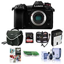 Panasonic Lumix G9 Mirrorless Camera Body, Black - Bundle with 32GB SDHC U3 Card, Spare Battery, Camera Case, Cleaning Kit, Memory Wallet, Card Reader, PC Software Package